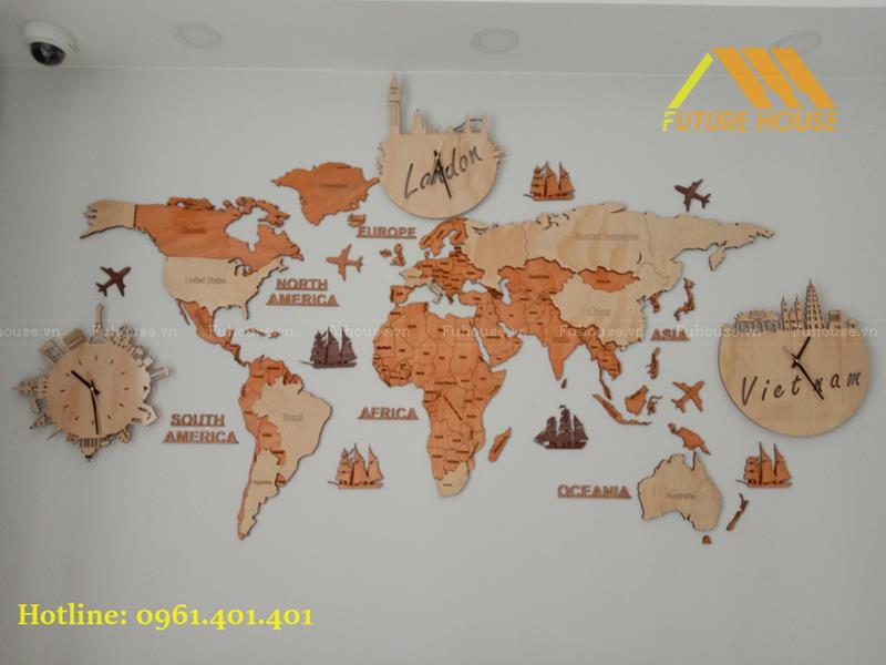 TOP 10 mẫu bản đồ gỗ trang trí độc nhất vô nhị tại Việt Nam
