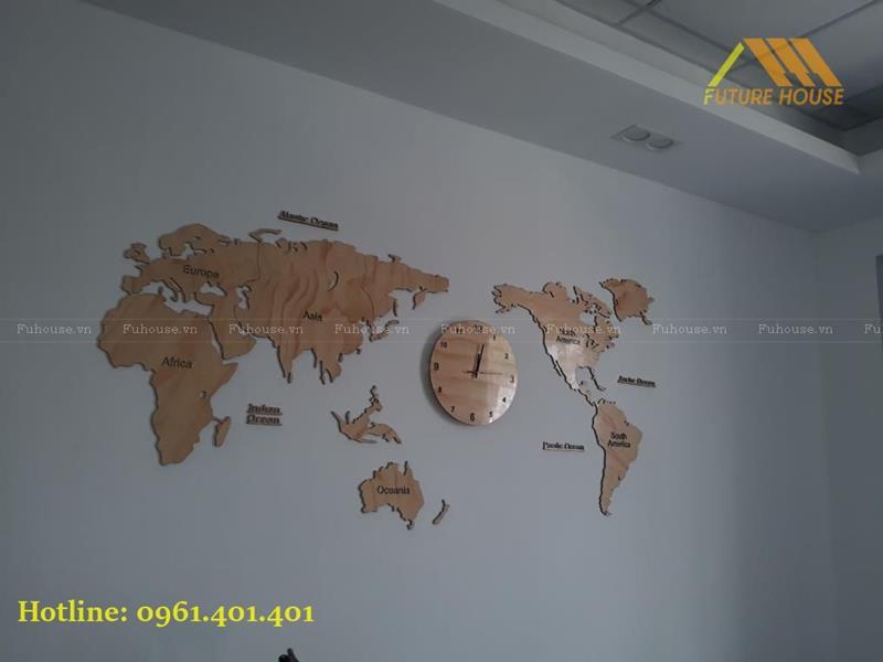 bản đồ gỗ gắn tường