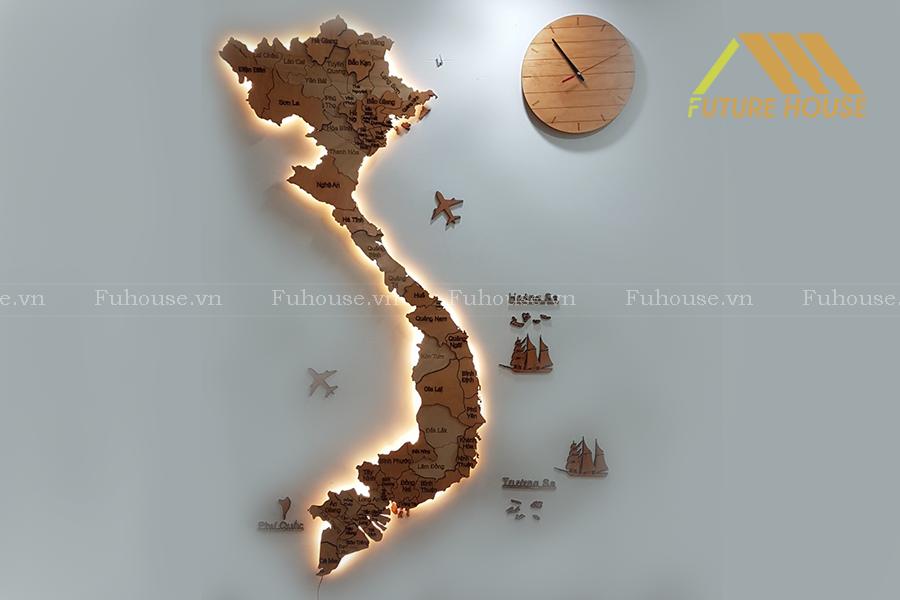 bản đồ gỗ việt nam treo tường
