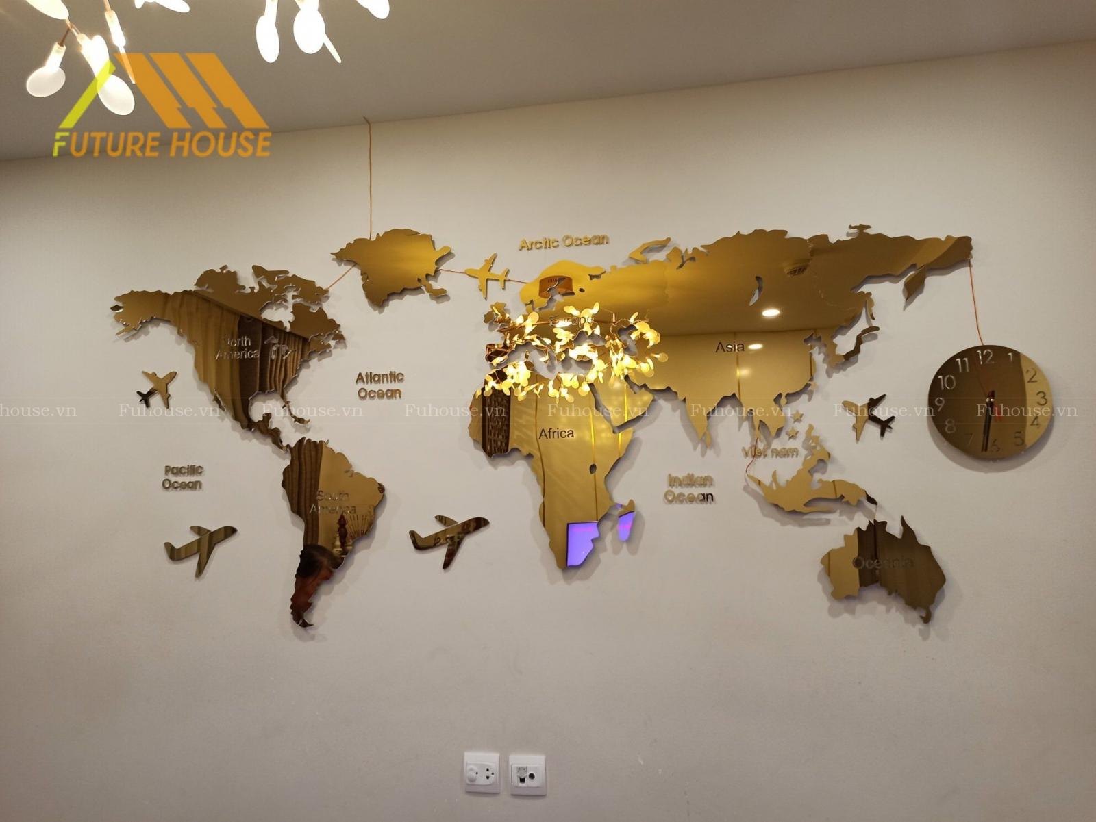 bản đồ inox mạ vàng cao cấp