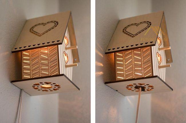 Đèn Gỗ Trang Trí Treo Tường Ngôi Nhà F-Annecy 01