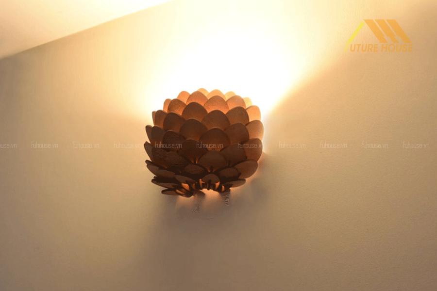 đèn gỗ treo tường phòng khách