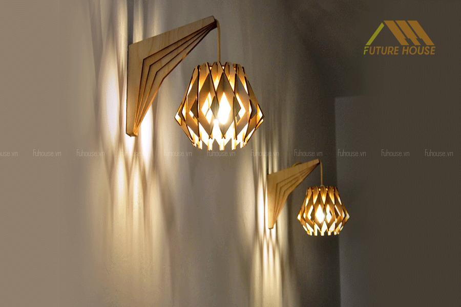 đèn gỗ trang trí quán cafe