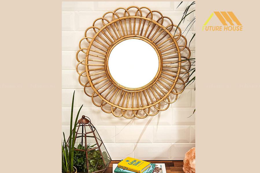 Gương Decor Trang Trí Tường Rattan Flower Mirror