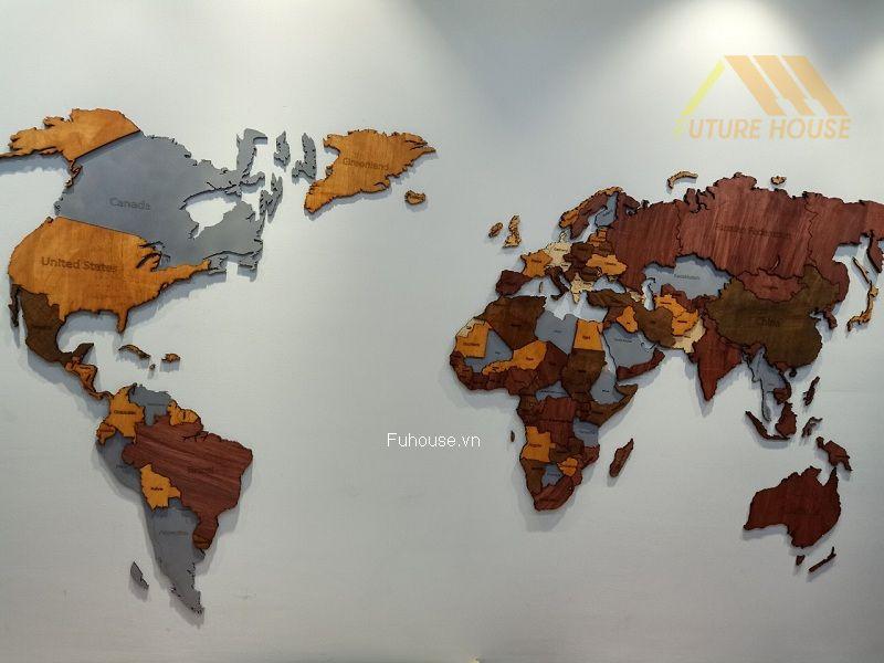 bản đồ gỗ treo tường