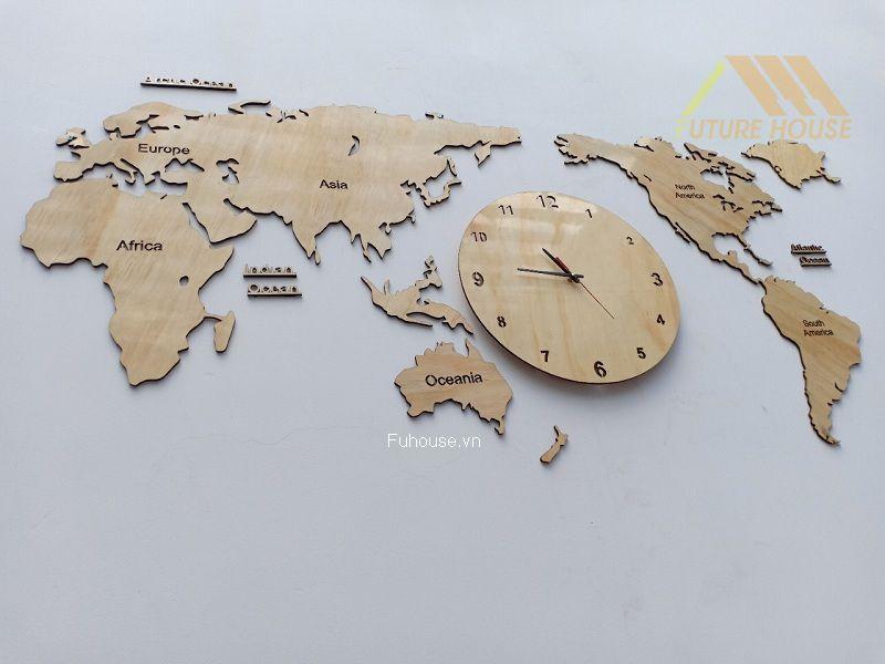 bản đồ thế giới gỗ