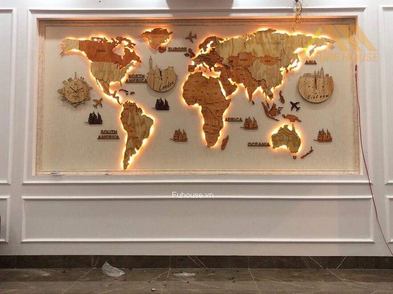 bản đồ gỗ trang trí